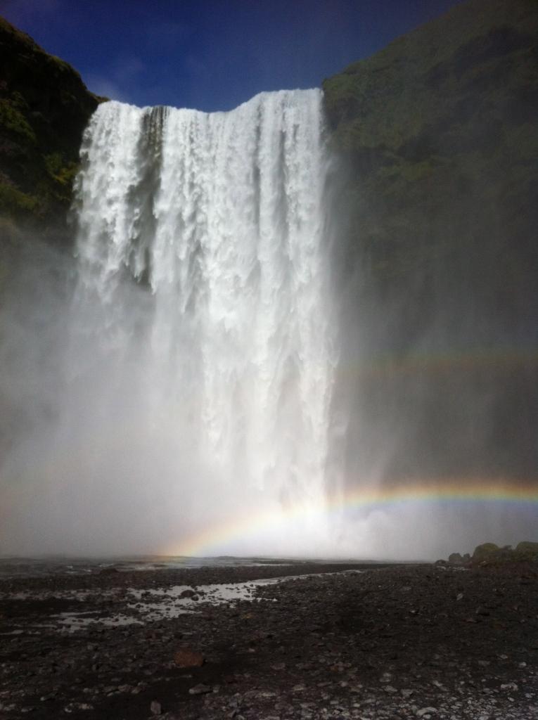 Skogafoss Waterfall with a double rainbow!