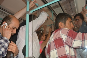 Crowded tram in Istanbul